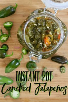 Instant Pot Candied Jalapenos-- 3 Ingredients for Sweet Heat: How to make candied jalapenos in the Instant Pot! Perfect for using up that bounty of summer produce from your backyard!