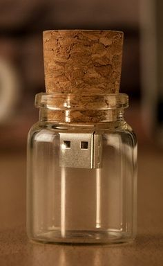 Message in a Bottle USB FLASH DRIVE cute way to make an video to invite for fun weekend or to dance or to tell significant other something!  So fun!