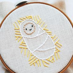 25 crafts of christmas // baby jesus embroidery pattern