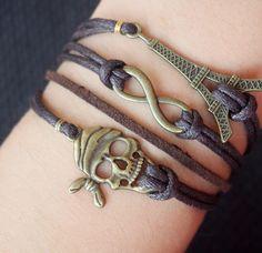 infinity bracelet-infinity-bracelet-bracelet infinity-skull-eiffel-skull bracelet-eiffel bracelet-charm bracelet-love-cross-anchor-best gift | Handmade Bracelet, DIY Bracelets, Handmade Men Bracelets