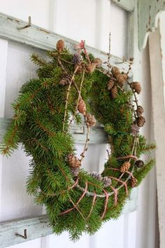 #christmaswreath Natural Christmas, Scandinavian Christmas, Green Christmas, Beautiful Christmas, Christmas Time, Xmas, Holiday, Christmas Greenery, Christmas Decorations For The Home