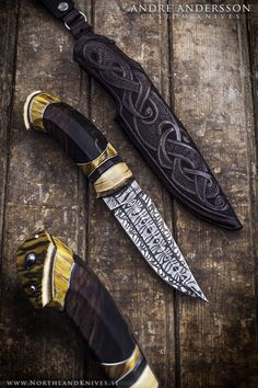 Handmade viking inspired knife by André Andersson of Sweden. Pattern welded steel and mammoth tusk. Available at http://www.NorthlandKnives.se