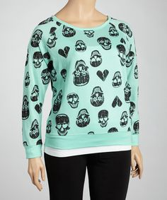 Take a look at this Mint Sea Skull Long-Sleeve Top - Plus by Feathers on #zulily today!