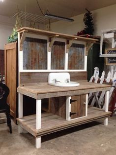Rustic potting benches - The most awesome Garden bench Drawing Ideas 7476015919 . Rustic potting b Reclaimed Wood Benches, Garden Sink, Potting Bench Plans, Building A Shed, Outdoor Kitchen, Potting Bench With Sink, Outdoor Sinks, Diy Garden Furniture, Rustic Potting Benches