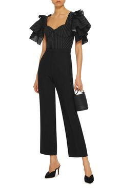 Tome Tiered Ruffle Sleeves top in black pinstripes. Built in bra.Paired with pinstriped slacks or white slacks would be lovely.     Moda Operandi.com    