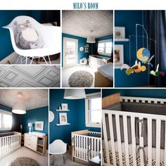 This was my inspiration for G's room but we added orange to the teal and gray!! Super cute for a boy  : )