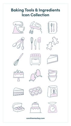 A quirky collection of 50 'Baking Tools & Ingredients' themed vector icons. Bullet Journal Writing, Bullet Journal Ideas Pages, Bullet Journal Inspiration, Baking Logo Design, Cake Logo Design, Recipe Book Design, Easy Doodle Art, Sketch Notes, Simple Doodles