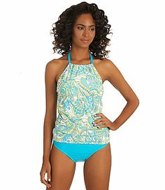 0d0d1ab6feacc Athena Pick Your Fit Pool Paisley Halterkini Top and Heavenly Banded Bottom  #Dillards Womens Tankini
