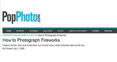 One of my fireworks photos was published on PopPhoto.com. Article: www.popphoto.com/Features/How-To/How-to-Photograph-Fireworks    Original photo: www.flickr.com/photos/robynw/80373732      More info http://lulu16.hubpages.com