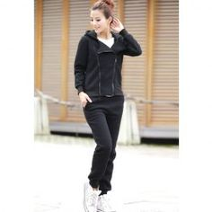 $20.18 Casual Hooded Long Sleeve Solid Color Zipper Sport Twinset For Women