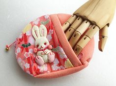 little bunny pink purse japanese fabric zipper purse make up