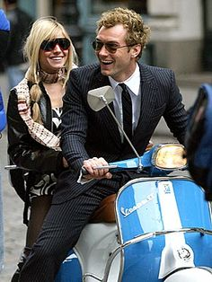 "Sienna Miller + Jude Law + Vespa. Need to see ""Alfie"" (2004) again."