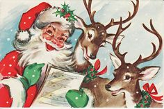 Hey Santa! ------------Retro Christmas card.