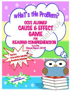 $3.00 Another hands on activity to use over and over, ideal for literacy centers, small group work or guided reading, that reinforces cause and effect reading comprehension skills. This packet contains 42 playing cards, differentiated by design to assist with y