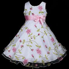 p006 Pink White a3 UkG X'mas Party Flower Girls Dress 2,3,4,5,6,7,8,9,10,11-12y