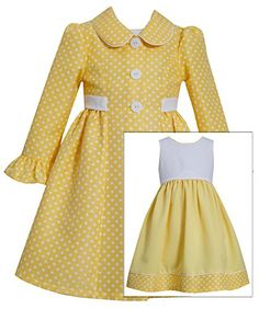 Bonnie Jean Little Girls Yellow Dot Dress with Jacket 6 Bonnie Jean Toddler Dress, Baby Dress, Dot Dress, Dress Set, Shirt Dress, Dresses Kids Girl, Kids Outfits, Lace Dress For Kids, Dress Anak