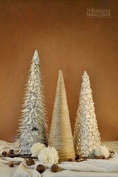 DIY cone trees - made with dictionary pages, hemp twine, dried beans