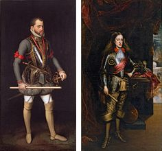 Burgundy Cross armor, 1500's  Passed on from generation to generation.   (left) Anthonis Mor, Netherlandish, 1519–1576, Philip II in Armor, 1560 (right) Juan Carreño de Miranda, Spanish, 1614–1685, Charles II in Armor, 1681, oil on canvas