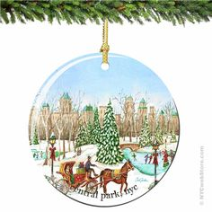 Central Park Porcelain Christmas Ornament Enjoy the scenic landscape of Central Park with the New York City skyline in the background.  This exclusive porcelain ornament will be enjoyed for generations. (http://www.nycwebstore.com/chuck-fischers-central-park-porcelain-christmas-ornament/)