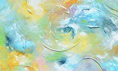 Estampe Art peinture abstraite Aqua Blue Light Vert Jaune Blanc urbain moderne texturé côtières Toiles Wall Art Home Decor -Christine - Christine Krainock Art - Art contemporain par Christine - 1