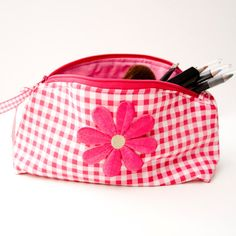 Cosmetic / Make up Purse in Pink Gingham  by moodycowdesigns, £15.00