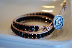 black - shiny - crystal - tan vachetta leather - silver round button - www.bellamink.com