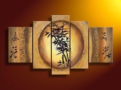 handpainted 5 piece modern abstract Chinese bamboo picture oil painting on canvas wall art for home decoration free shipping