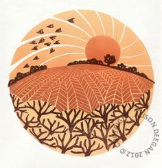 Lino print - Hedge, fields and birds, Alison Deegan