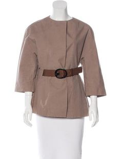 Brown Marni jacket with crew neck, belted waist and snap closures at front.