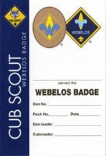 Webelos Pocket Certificate, Single
