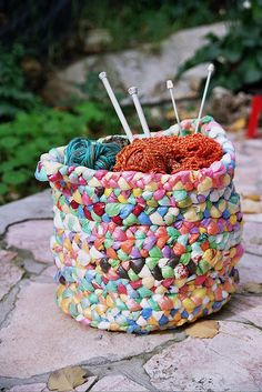 Colorful basket made from plastic bags