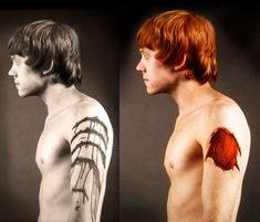makeup test images for Ron's splinching scene. (I gotta say. I'm not personally attracted to ginger guys, but Rupert Grint is blessed to be a very good looking ginger guy.)