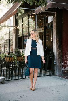 Scalloped Blazer + Lace Dress + Point Toe Pumps | bows & sequins
