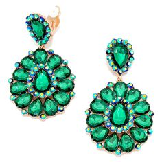 Statement Oversized Long Clip On Earrings Store Emerald Green Crystal Vitrail AB Green Acrylic Hoop Clip On On Blue 8.3cm Long