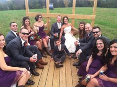 A down home country wedding in Pa, with wedding party taking a hay ride before reception!