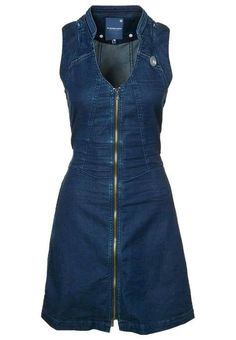 G-Star Rider jeans dress, longer skirt Outfit Jeans, Jeans Dress, Dress Outfits, Fashion Dresses, Denim Fashion, Womens Fashion, Denim Ideas, Mode Style, African Fashion