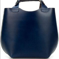 Zara Shopper !! Rich Navy Blue Real Buffalo leather, Laminated inside from 2013 season. Minimal Scratches on exterior. Added photos Zara Bags