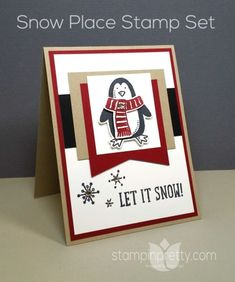 Make winter magic with this adorable penguin from the Snow Place stamp set. Designed by Mary Fish, Independent Stampin' Up! Demonstrator. Details, supply list and more card ideas on http://stampinpretty.com/2015/09/making-winter-magic-with-snow-place.html