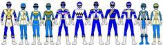 MMPR Blue Ranger  Blue Thunder Ranger  Blue Zeo Ranger  Zeo Racer Blue Ranger  Star Trooper Blue Ranger  Beast Fury Blue Ranger  Rescue Rider Blue Ranger  Beast Warrior Blue Ranger  Nitro Blue Ranger  Mach Force Blue Ranger  Beast Strike Blue Ranger