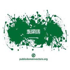 Paint splash in colors of the flag of Saudi Arabia.
