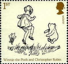 In Great Britain released another series of stamps dedicated to Milne's Winnie the Pooh. Above is Christopher Robin with Pooh and Piglet Royal Mail Stamps, Uk Stamps, Postage Stamps, Winnie The Pooh Quotes, Winnie The Pooh Friends, John Wright, Art Postal, Jean Christophe, Christopher Robin