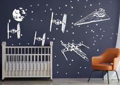 Wall Stickers Playroom, Vinyl Wall Stickers, Wall Decal, Star Wars Bedroom, Star Wars Nursery, Black Accent Walls, Star Wars Spaceships, Cartoon Wall, Girl Room