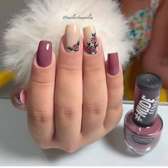 25 Modelos de Unhas decoradas com Esmalte - Gorgeous Nails, Love Nails, Pretty Nails, My Nails, Finger Nail Art, Cute Acrylic Nails, Healthy Nails, Types Of Nails, Stylish Nails
