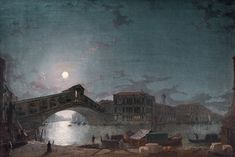 Henry Pether - 'The Rialto Bridge Venice, by Moonlight'