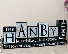 Family Name Blocks - Wooden Blocks - Parents Anniversary Gift - Living Room Decor - Christmas Gift - Family Blocks - 5 Letters Name Sign