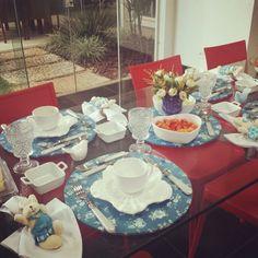 Mesa Branco e Azul... no clima da Pascoa!!!