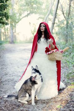 Little Red Riding Hood with the Wolf - Bride photo- How cute this would be with my baby husky Toby. Haha thought this was so cute