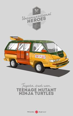 Unconventional Heroes: Toyota van Teenage Mutant Nina Turtles, by Gerald Bear Car Illustration, Illustrations, Alternative Movie Posters, Car Posters, Car Drawings, Top Cars, Automotive Art, Iconic Movies, Teenage Mutant Ninja Turtles