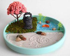 Koi Pond Zen Garden // Miniature Fairy Garden Stone Buddha Statue // Desk Toy Terrarium // Meditation Gift // Gifts for Her // Sand Garden