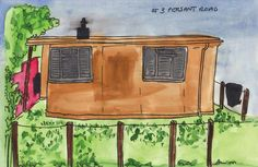 Colour Me Prefab - a child at Forster Park school 2011. Original illustration by Harriet McDougall.